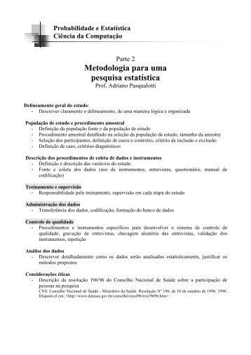 Metodologia para uma pesquisa estatística - Universidade de Passo ...