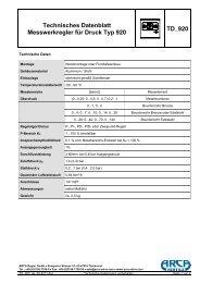 Technisches Datenblatt Messwerkregler für ... - ARCA Regler Gmbh