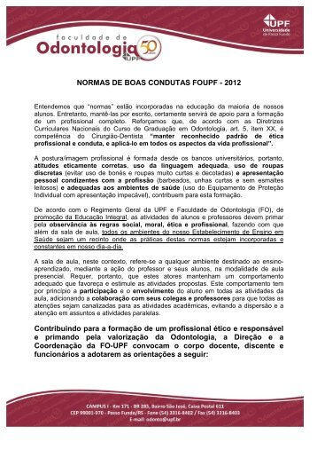 NORMAS DE BOAS CONDUTAS - 2012