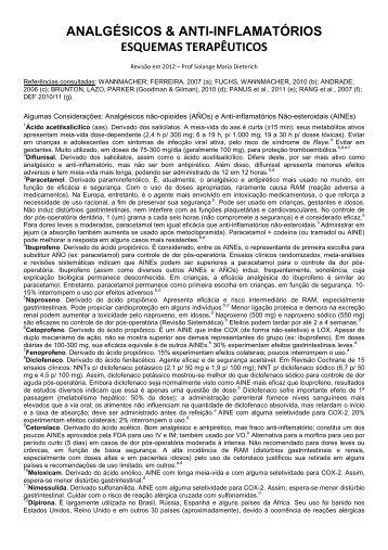 Protocolo sobre antiinflamatórios e analgésicos