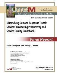 Final Report - University Transportation Center for Mobility - Texas ...