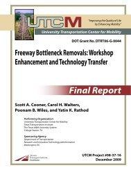 Freeway Bottleneck Removals - University Transportation Center for ...