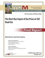 The Short-Run Impact of Gas Prices on Toll Road Use - University ...