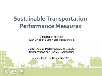 Sustainable Transportation Performance Measures - University ...
