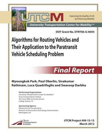 Algorithms for Routing Vehicles and Their Application to the ...
