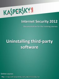 Uninstalling third-party software - Kaspersky Lab