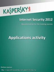 Applications activity - Kaspersky Lab