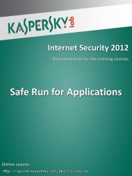 Safe Run for Applications - Kaspersky Lab