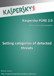 Setting categories of detected threats - Kaspersky Lab