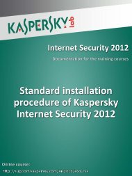Standard installation procedure of Kaspersky ... - Kaspersky Lab