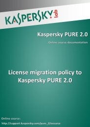 License migration policy to Kaspersky PURE 2.0 - Kaspersky Lab