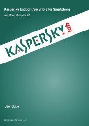 Kaspersky Endpoint Security 8 for Smartphone for ... - Kaspersky Lab