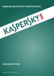 Administrator's Guide - Kaspersky Lab