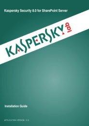 Kaspersky Security 8.0 for SharePoint Server - Kaspersky Lab