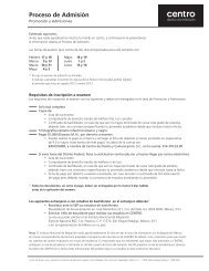 Proceso de Admisión - Centro