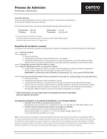 proceso de admisión en PDF - Centro