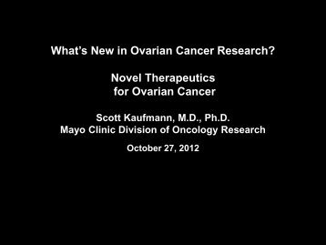 Novel Therapeutics in Ovarian Cancer