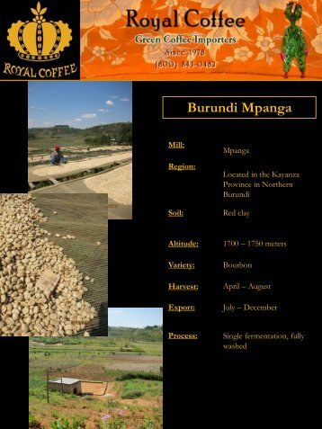 Burundi Mpanga - Royal Coffee, Inc.