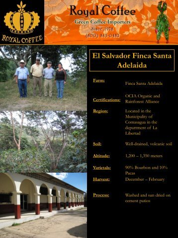 El Salvador Finca Santa Adelaida - Royal Coffee, Inc.