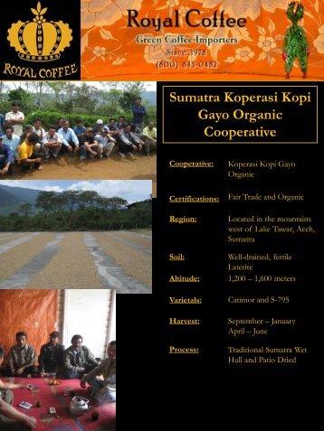 Sumatra Koperasi Kopi Gayo Organic Cooperative - Royal Coffee, Inc.