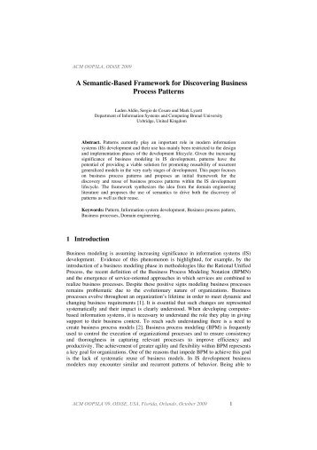 A Semantic-Based Framework for Discovering ... - Brunel University