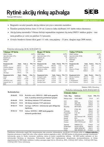 Rytinė akcijų rinkų apžvalga, 06 05