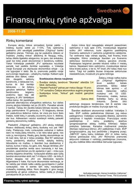 Lapkričio 25 d. finansų rinkos rytinė apžvalga - Verslo naujienos