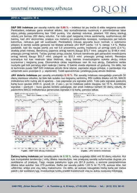 Savaitinis finansų rinkų komentaras