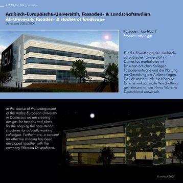 Arabisch-Europäische-Universität, Fassaden ... - archicult