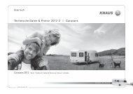Technische Daten & Preise 2012-2 | Caravans - Gebetsroither