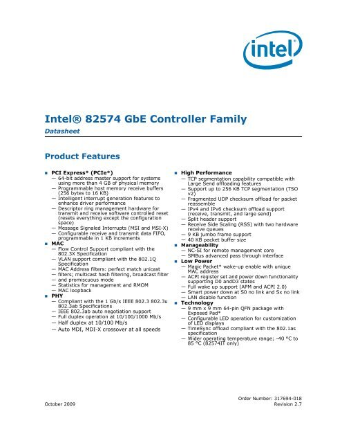 Intel 82574L Datasheet - VersaLogic Corporation