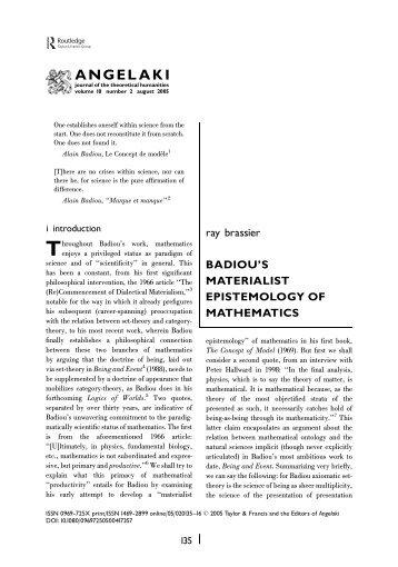 materialist epistemology of mathematics.pdf - Versus Laboratory