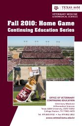 Fall 2010: Home Game - College of Veterinary Medicine - Texas ...