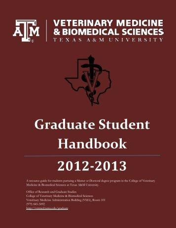 Graduate Student Handbook 2012-2013 - College of Veterinary ...