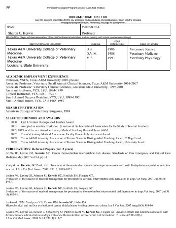 Curriculum Vitae - College of Veterinary Medicine - Texas A&M ...