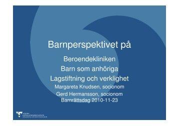 Barnperspektivet på beroendekliniken - Gerd Hermansson ...