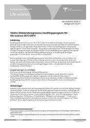 Västra Götalandsregionens handlingsprogram för life science 2013 ...
