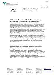 Hälsokontroll avseende tuberkulos vid utbildning och/eller före ...