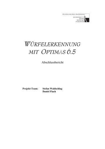 Würfelerkennung mit Optimas 6.5 - Abschlussbericht