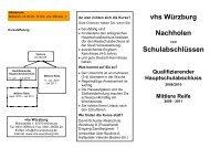 vhs Würzburg Nachholen Schulabschlüssen