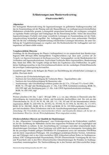 Muster Werkvertrag Bundeskammer Der Architekten Und