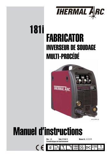 181i Manuel d'instructions Fabricator - Victor Technologies - Europe