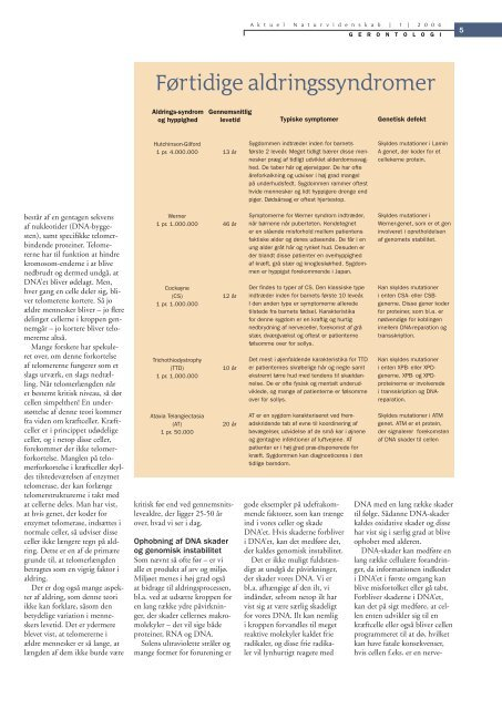 Aldringens molekylærbiologi - Viden (JP)