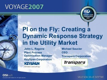 PI on the Fly: Creating a Dynamic Response Strategy in the ... - OSIsoft