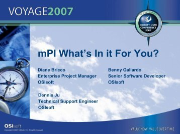 mPI What's In it For You? - OSIsoft