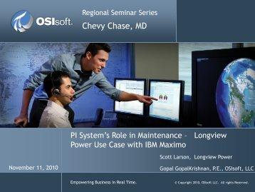Longview Power Use Case with IBM Maximo - OSIsoft