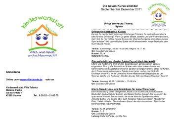 Die neuen Kurse sind da! September bis Dezember 2011