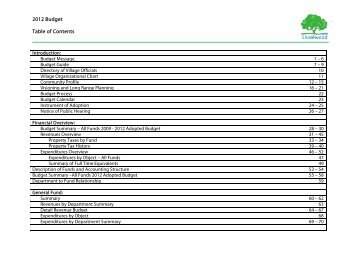 2012 Budget Table of Contents - Village of Shorewood