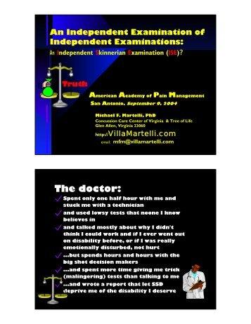 An Independent Examination of Independent Exams: Diagnosis