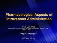 Pharmacological Aspects of Intravenous Administration